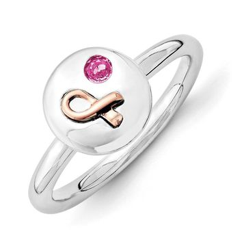Sterling Silver 14k Rose Gold Ribbon Pink Sapphire 9mm Disc Stack Ring