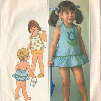 Vintage 1970's Little Girls Size 2 Halter Dress or Top Shorts and Bloomers Simplicity Sewing Pattern 7553