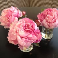 Fine Silk Floral Arrangement Faux Pink Peony In by SkyDesignsUSA