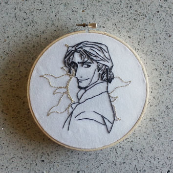 "Embroidery Hoop Piece / Tangled ""Flynn Rider"" / Finished Embroidery Design"