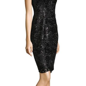 Adrianna Papell - AP1E201566 Sequined Floral Lace Knee Length Dress