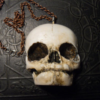 Fetal Baby Skull Life Sized Aged Necklace 3D Resin Fetus