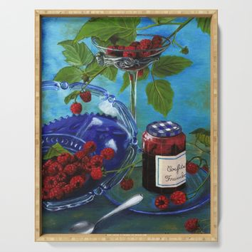 Still-life with raspberries Serving Tray by savousepate