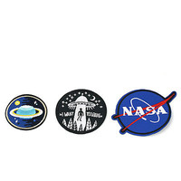 DIY Embroidery NASA UFO Space Iron On Sewing Patch Bag Clothes Applique Badge