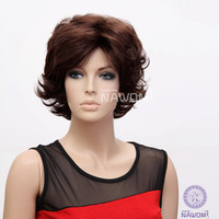NAWOMI Oblique Bang 100% Kanekalon Synthetic Short Curly Wavy Wig Capless Fluffy