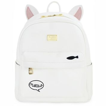 ENSSO New Arrival White Japan Style Animal Prints 3D Rabbit Cat Ear Embroidery PU Leather Girl's Book Bag Backpack Shouler Bags