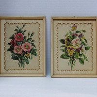 Vintage Pair of Flowers 1940s 50s Prints Cottage Art Shabby Chic