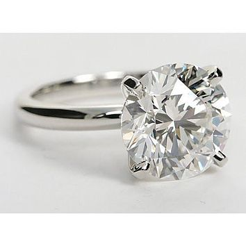 A Perfect 5CT Round Cut Solitaire Russian Lab Diamond Engagement Ring