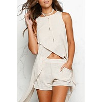 Solid Color Fashion Casual Sleeveless Irregular Tops Shorts Set Two-Piece