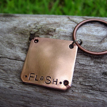 Personalized Copper Pet Id Tag - Unique Pet Tag - Hand Stamped - Wire Wrap - Aluminum Backer