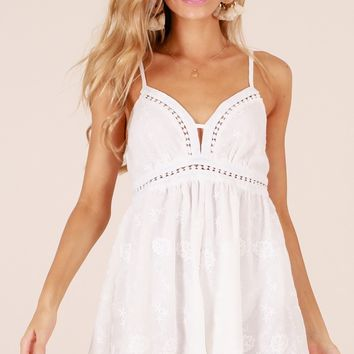 Cocktail Hour playsuit in white embroidery Produced By SHOWPO