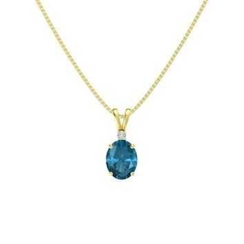Oval London Blue Topaz 14K Yellow Gold Pendant with Diamond