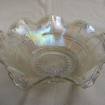 Iridescent Beaded Block Ruffled Bowl Vintage Fluted Edges Imperial Depression Glass