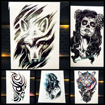 Indian tribal Warrior Waterproof Tattoo Sticker PAQ-H856 Men Totem Armband Fake Tattoo Body Arm Art Wolf Flash Temporary Tattoo