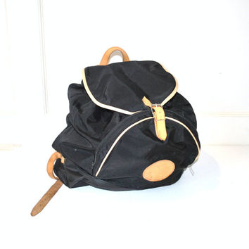 leather trim backpack / 80s MINIMALIST grunge slouchy large book bag
