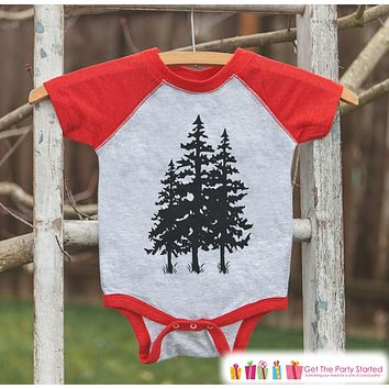 Kid's Tree Hugger Outfit - Red Raglan Shirt or Onepiece - Kids Baseball Tee - Camp Shirt for Baby, Toddler, Youth - Adventure Clothing