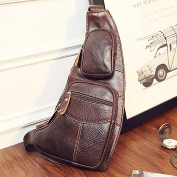 High Quality Genuine Leather Cowhide Vintage Sling Chest Back Pack