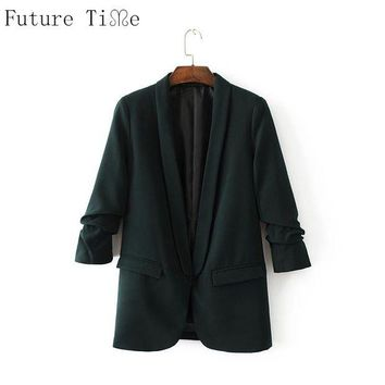 ONETOW Future Time Autumn Women Suit Slim Fit Blazer Jackets Notched Office Work Open Front Blazer Outfits Female Solid Coats WT102