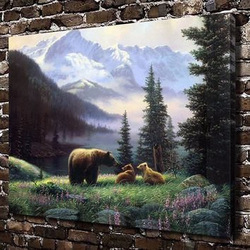 "16"" x 20"" HD Bear Fores Animals Canvas Art Print Home Decor Painting No Frame"