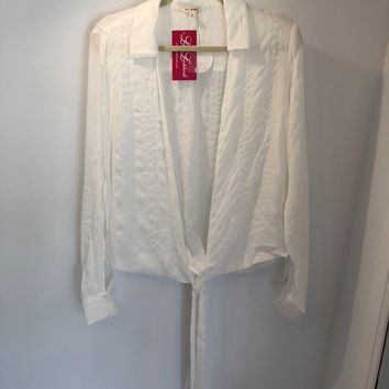 Front Tied Long Sleeve Shirt - White
