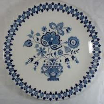 Vintage- Johnson Bros -plates - stoneware -'Jamestown Blue Onion'  table-serving-dish - cottage chic