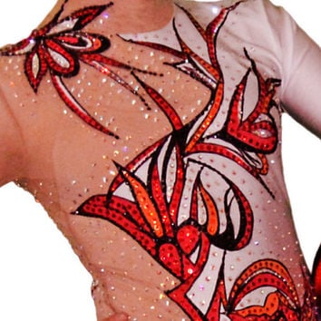Gymnastics - Ice Skating Leotard - White with Red Flowers