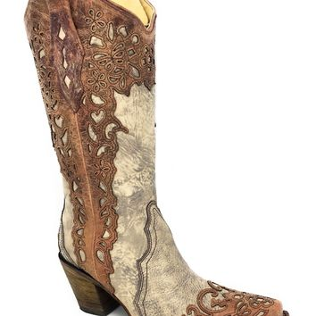 Corral Women's Sand/Cognac Laser Overlay Snip Toe Boots A2665