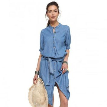 New Stand Collar Lace-Up Dress Cultivate One's Morality Waist Dress Denim Folds Dress Female cotton Solid Color Dress HI-LO