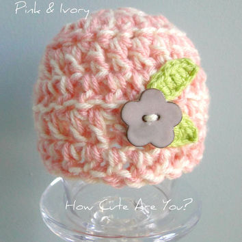 Baby Girl Hat Pink and Ivory with Handmade Ceramic Flower Button -Newborn-3 months Ready to Ship -Custom Made to 12 months