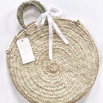 Handwoven Round Basket Tote