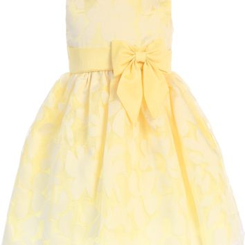 Yellow Floral Burnout Organza Overlay Easter Spring Dress (Baby, Toddler & Girls Size)