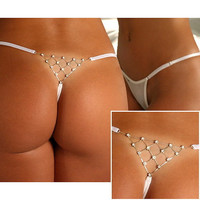 Sexy On Sale Hot Deal Cute Elastic Panties White Rhinestone Metal T-back Exotic Lingerie [6596789955]