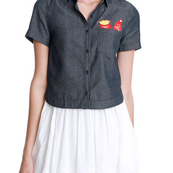 Fries Or Frites Chambray Denim Crop Shirt - Black
