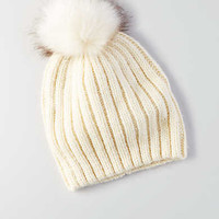 AEO Ribbed Fitted Beanie , Cream