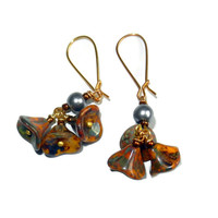 Mustard and Grey Floral Drop Earrings with Pearls