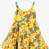 Yellow Bohemian Floral Print Spaghetti Strap Dress
