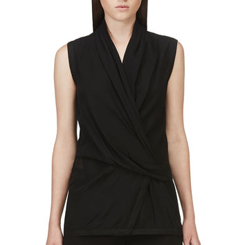 Helmut Lang Black Pebbled Silk Wrap Top