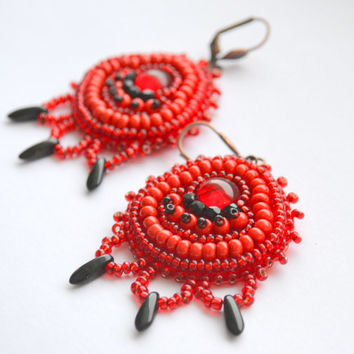 Red earrings Red and black earrings Red gypsy earrings beaded jewelry ooak seed bead embroidery Unique jewelry