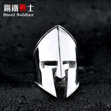 Steel soldier stainless steel men knight helmet ring personality popular for Europe fashion jewelry