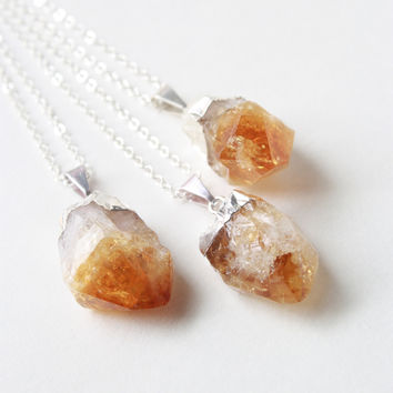 Silver Citrine Crystal Necklace