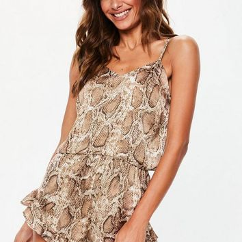 Missguided - Brown Snake Print Satin Cami Frill Short Pajamas Set