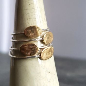 Sterling Silver Stacking Ring with Textured Copper Disc
