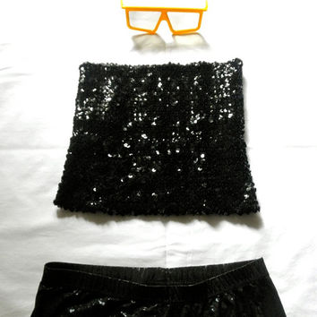 Sexy Sequined Black Tube Top Party Diva // 70s 80s stretch
