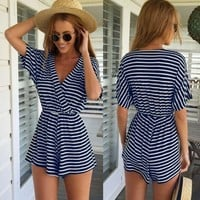 Fashion Ladies Women Sexy V-Neck Short Sleeve Striped Stretch Casual Loose Short Jumpsuit