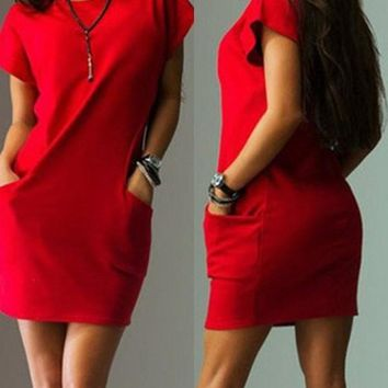 New Red Pockets Round Neck Short Sleeve Casual Mini Dress
