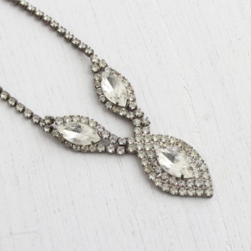 Vintage Faux Diamond Rhinestone Necklace - Mid Century 1950s Silver Tone Costume Jewelry / Clear Glass Sparkle