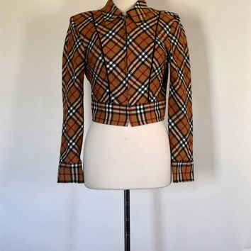 70s / 80s Cropped Plaid Jacket