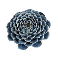 Ceramic Blue Zinnia Sculpture