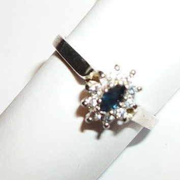 Women's Ring Blue Sapphire Genuine Marquise Solitaire with CZ Accents Sterling Silver Vintage 1980's September Birthstone Jewelry