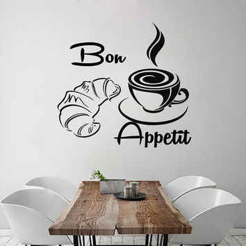 Wall Decals Bon Appetit Decal Vinyl Sticker Croissant Cup Home Decor  Interior Design Kitchen Cafe Restaurant Mural  MN90
